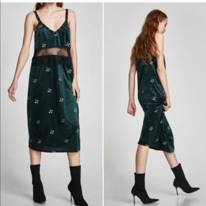 NWT! Zara Velvet Floral Embroidered Lace Dress